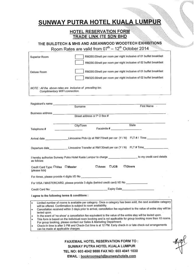 Hotel Reservation Form Trade Link Ite Sdn Bhd The Buildtech  Mhs A