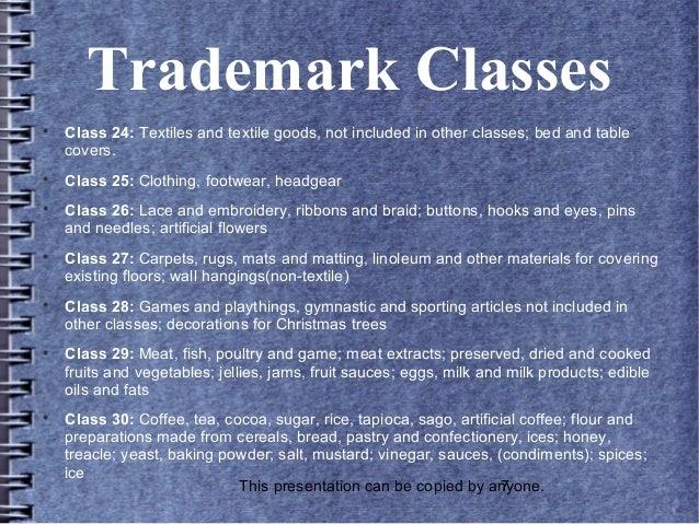 Trademark classes