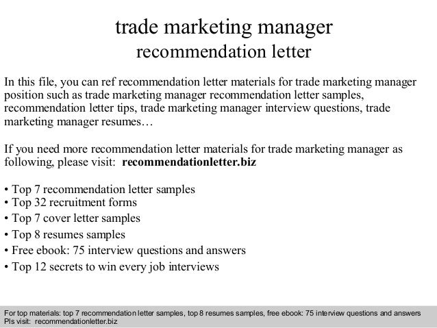 Trade marketing manager recommendation letter