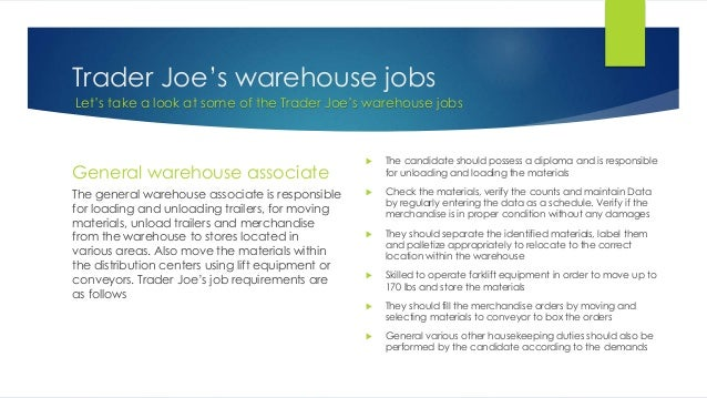 ... 4. Trader Joeu0027s Warehouse Jobs ...
