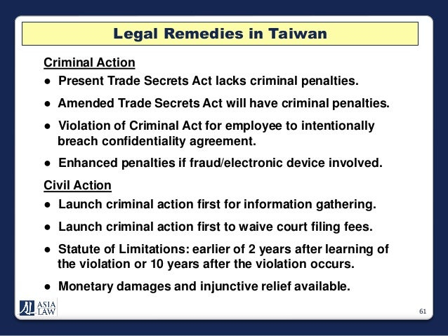 Trade Secret Protection In Taiwan