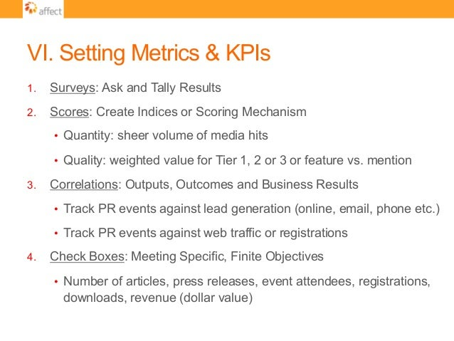 VI. Setting Metrics & KPIs 1. Surveys: Ask and Tally Results 2. Scores: Create Indices or Scoring Mechanism • Quantity:...