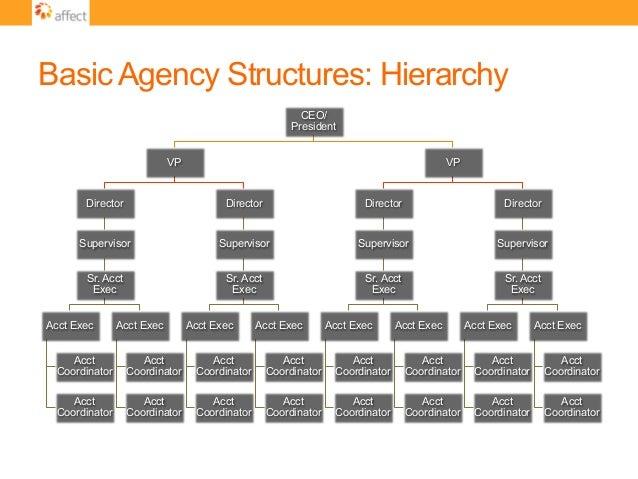 Basic Agency Structures: Hierarchy CEO/ President VP Director Supervisor Sr. Acct Exec Acct Exec Acct Coordinator Acct Coo...