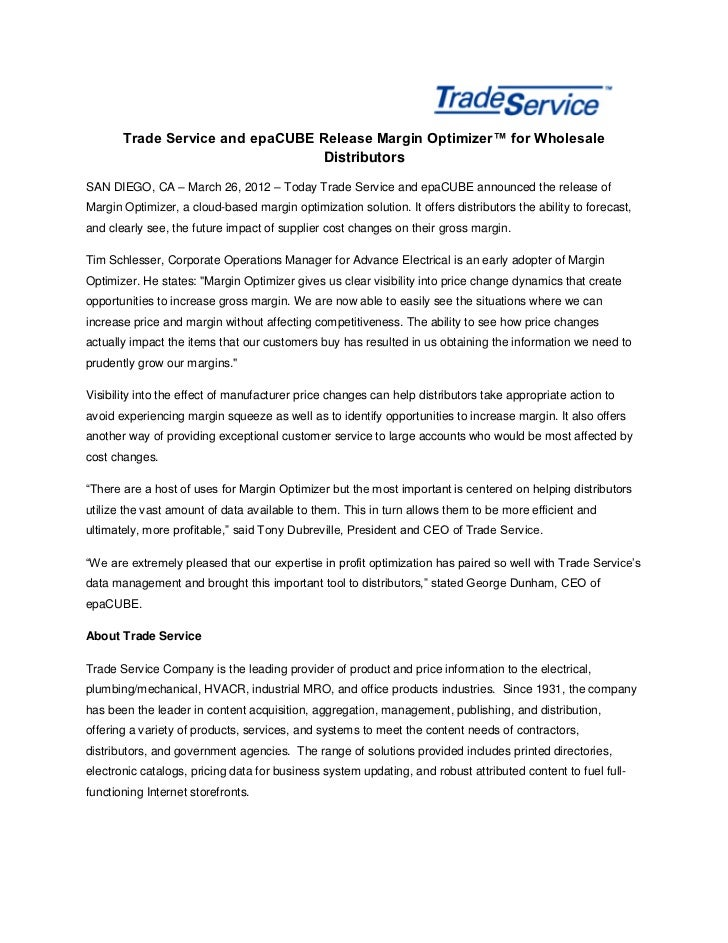Trade Service and epaCUBE Release Margin Optimizer™ for Wholesale                                 DistributorsSAN DIEGO, C...
