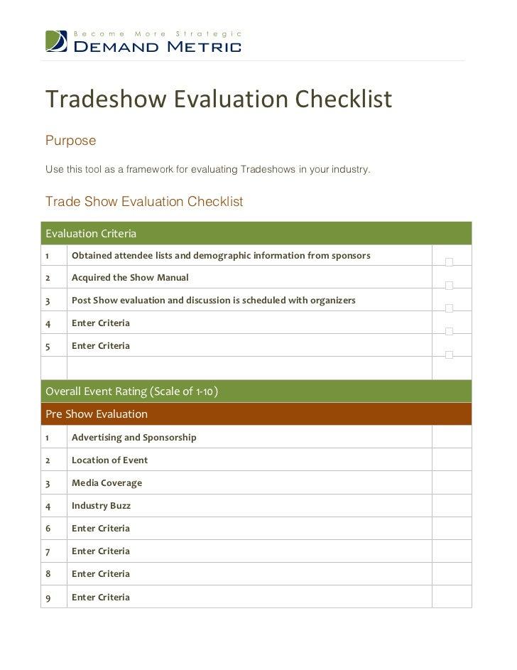 tradeshow evaluation checklist
