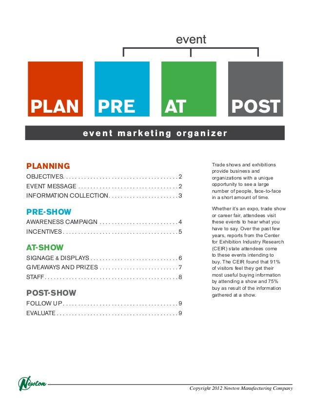 event  PLAN  PRE  AT  POST  event marketing organizer  PLANNING OBJECTIVES. . . . . . . . . . . . . . . . . . . . . . . . ...