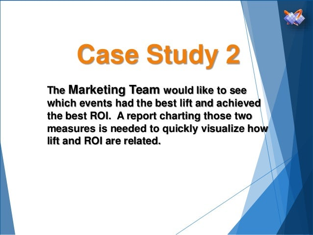 Case Study 2 The Marketing Team would like to see which events had the best lift and achieved the best ROI. A report chart...