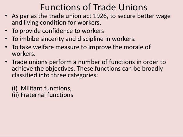 features of trade union act 1926