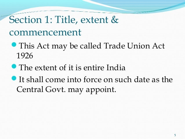 The Trade Unions Act, 1926 - MCQs with answers