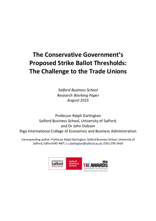The	   Conservative	   Government's	    Proposed	   Strike	   Ballot	   Threshol...