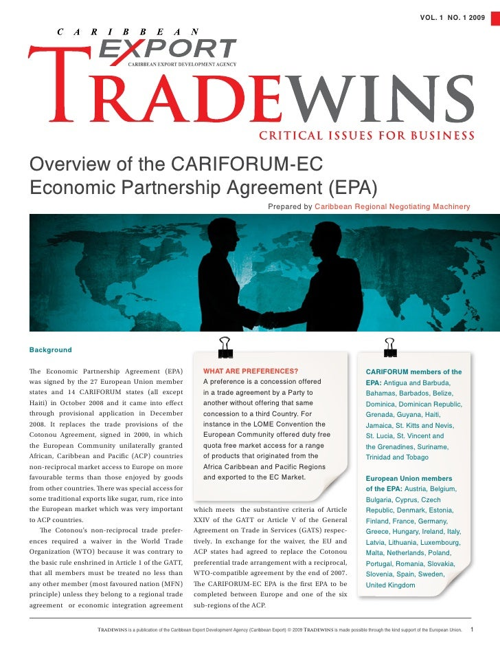 VOL. 1 NO. 1 2009Overview of the CarifOrum-ECEconomic Partnership agreement (EPa)                                         ...