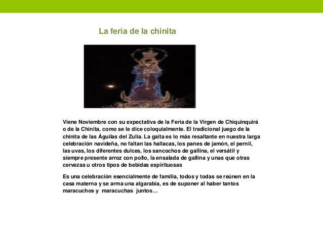La feria de la chinita Viene Noviembre con su expectativa de la Feria de la Virgen de Chiquinquirá o de la Chinita, como s...