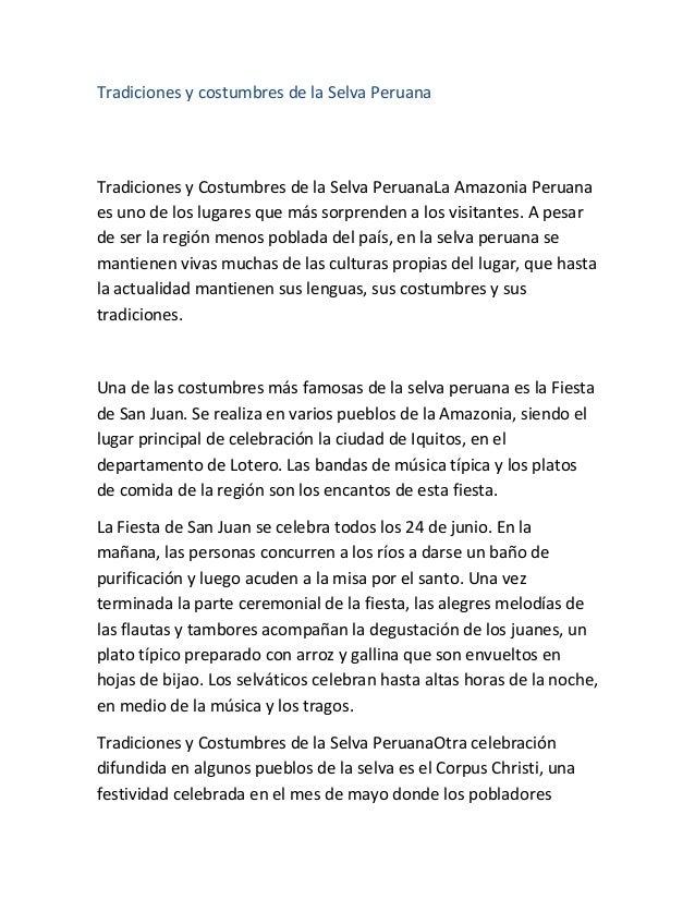 60a6c4474 Tradiciones y costumbres de la Selva Peruana Tradiciones y Costumbres de la  Selva PeruanaLa Amazonia Peruana ...