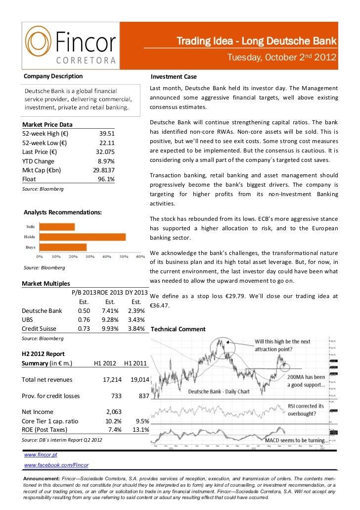 Trading Idea - Long Deutsche Bank                                                                                         ...