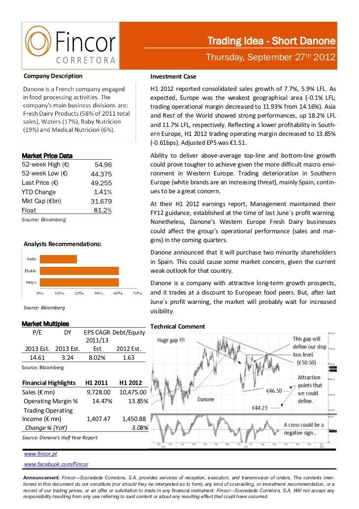 Trading Idea - Short Danone                                                                                       Thursday...