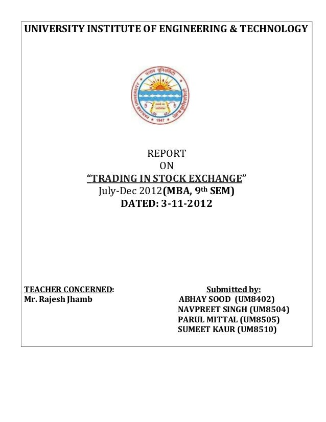 """UNIVERSITY INSTITUTE OF ENGINEERING & TECHNOLOGY                        REPORT                           ON            """"TR..."""