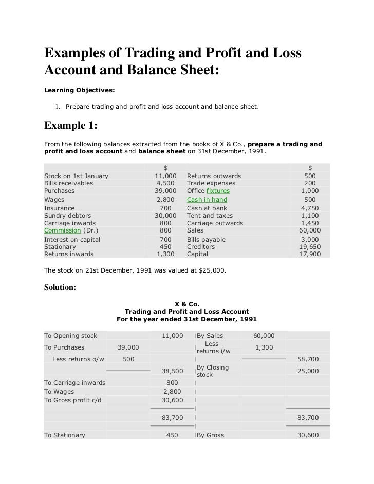 Examples of Trading and Profit and LossAccount and Balance Sheet:Learning Objectives:   1. Prepare trading and profit and ...