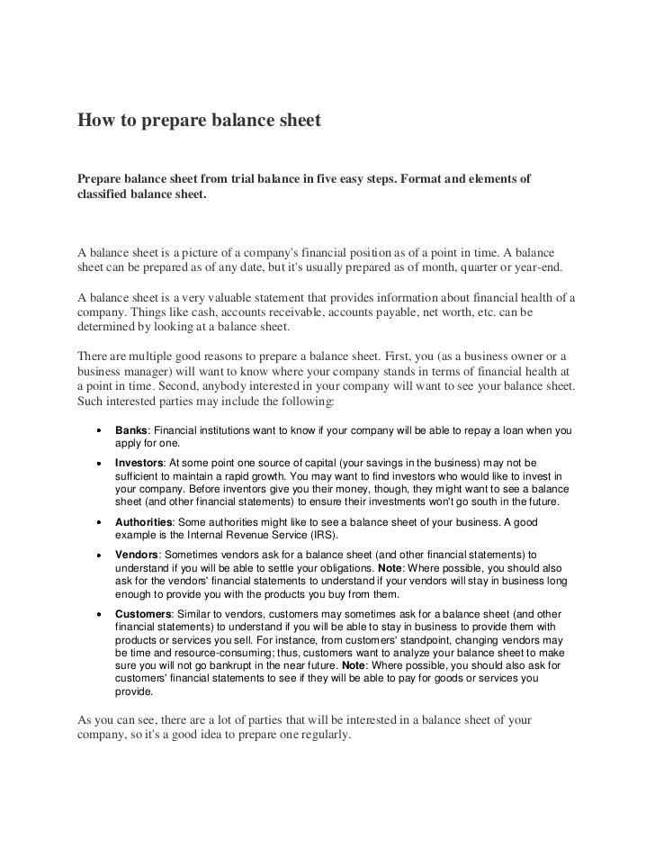 Trading,pl and balance sheet