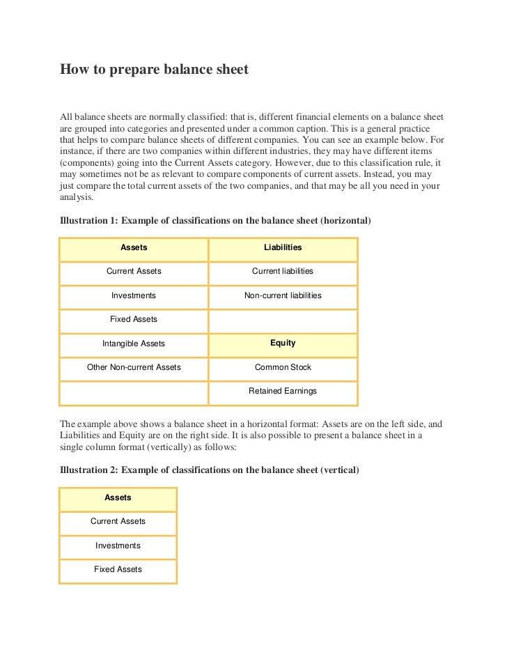 Tradingpl and balance sheet – Balance Sheet Preparation Examples