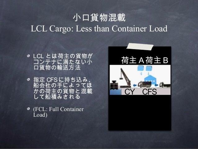 小口貨物混載LCL Cargo: Less than Container Load荷主 A 荷主 BCY CFSLCL とは荷主の貨物がコンテナに満たない小口貨物の輸送方法指定 CFSに持ち込み、船会社の手によってほかの荷主の貨物と混載して船積...