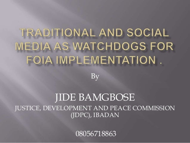 By JIDE BAMGBOSE JUSTICE, DEVELOPMENT AND PEACE COMMISSION (JDPC), IBADAN 08056718863