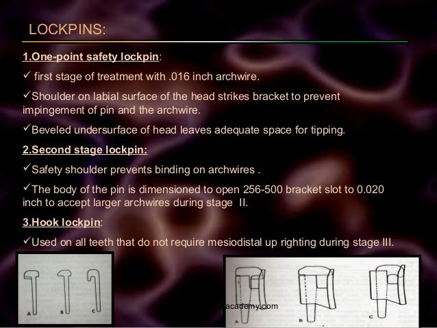 LOCKPINS: 1.One-point safety lockpin:  first stage of treatment with .016 inch archwire. Shoulder on labial surface of t...