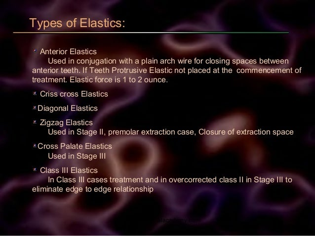 Types of Elastics: Anterior Elastics Used in conjugation with a plain arch wire for closing spaces between anterior teeth....