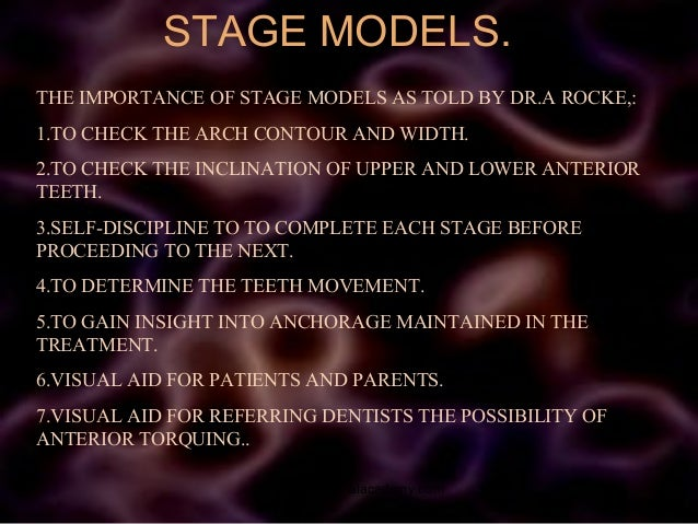 STAGE MODELS. THE IMPORTANCE OF STAGE MODELS AS TOLD BY DR.A ROCKE,: 1.TO CHECK THE ARCH CONTOUR AND WIDTH. 2.TO CHECK THE...