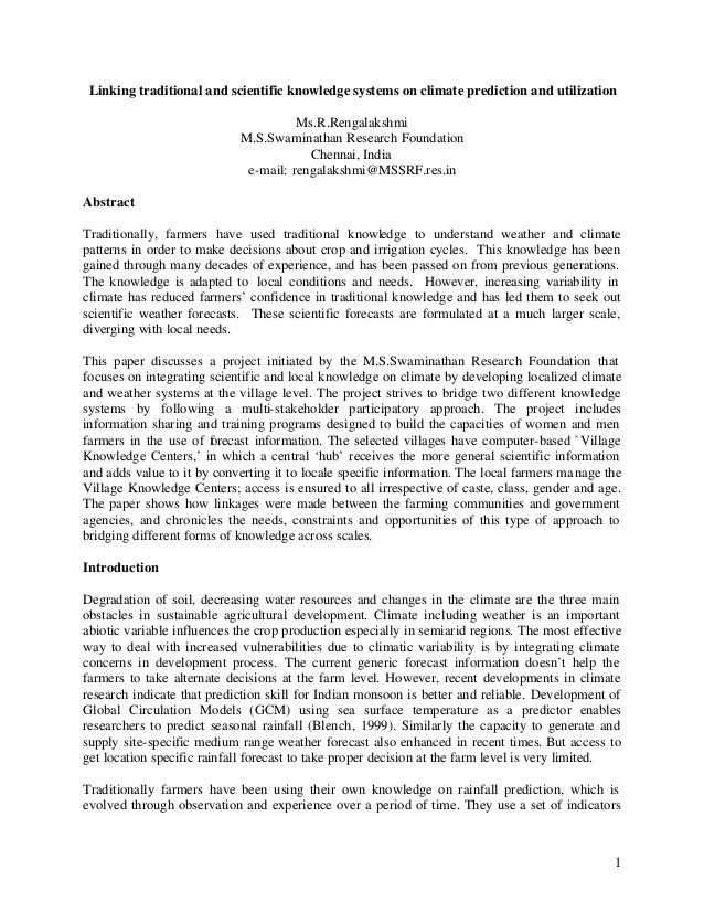 Linking traditional and scientific knowledge systems on climate prediction and utilization                                ...
