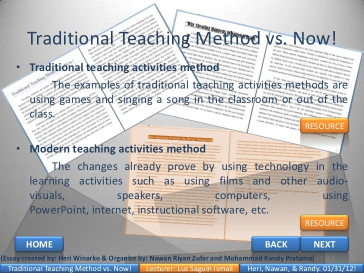 traditional teaching method vs now traditional