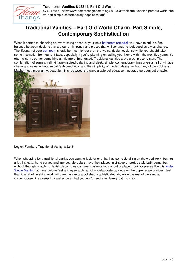 Traditional Vanities – Part Old Worl...                     by S. Lewis - http://www.homethangs.com/blog/2012/03/tradition...