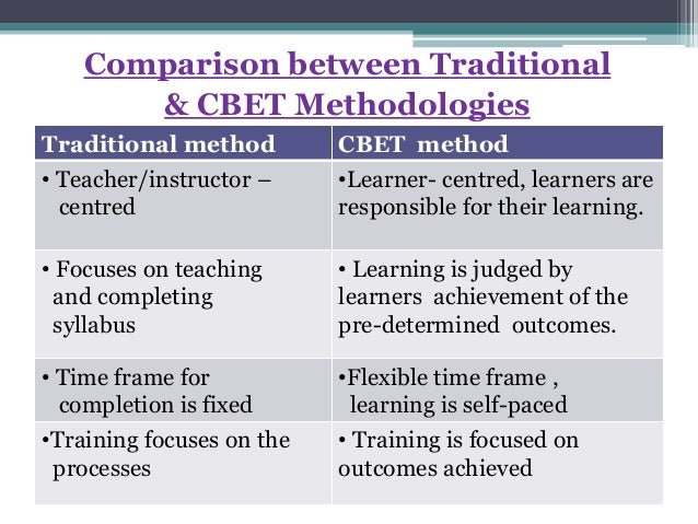Comparison between Traditional & CBET Methodologies Traditional method CBET method • Teacher/instructor – centred •Learner...