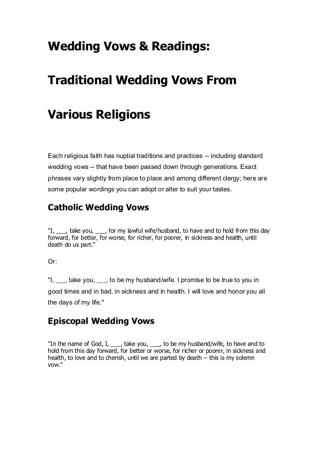 Wedding Vows Readings Traditional