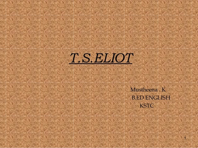 "t.s eliot essay tradition and the individual talent Tradition and the individual talent is such an essay in which, eliot talks about poetry, tradition and talent of the poets geoffrey g o' brien identifies ""tradition"" and ""individual talent"" as synonyms for eliot , ""the moments of reciprocal constitution, two aspects of the same substance."