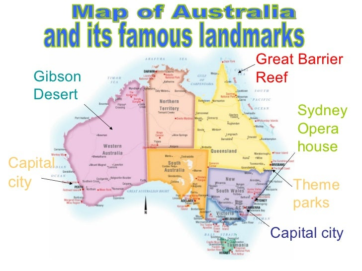 Map Of Australia With Landmarks – Map of Major Cities in Australia