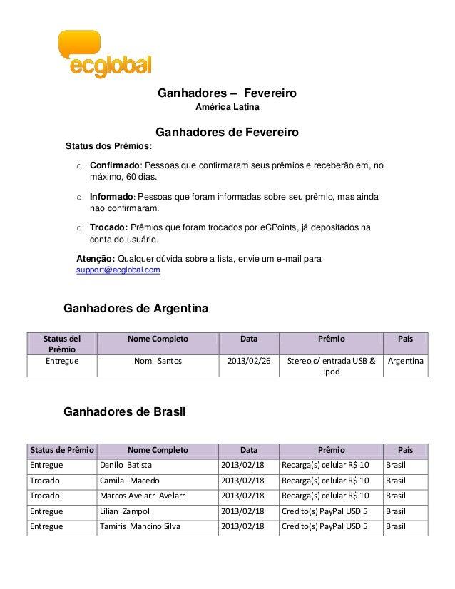 Ganhadores – Fevereiro                                            América Latina                                    Ganhad...