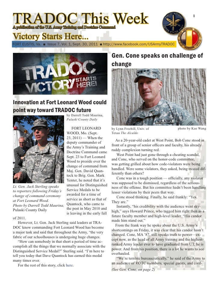 TRADOC This WeekA publication of the U.S. Army Training and Doctrine Command                                              ...