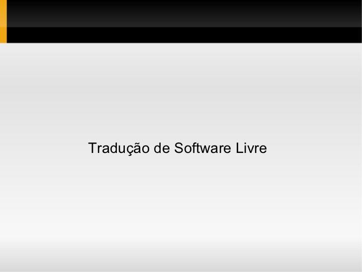 Tradução de Software Livre