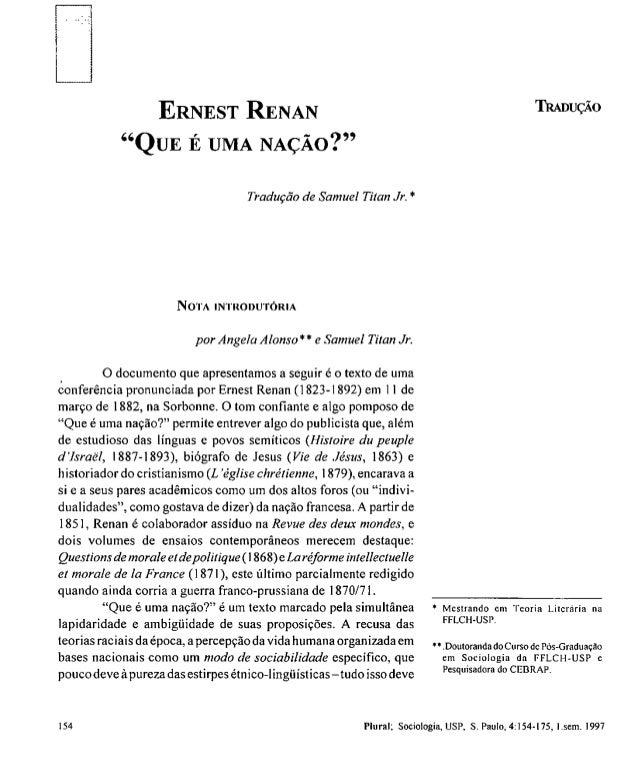 """Ciência Política - Texto Obrigatório 4 - """"Que É Uma Nação?"""" de Ernest Renan"""
