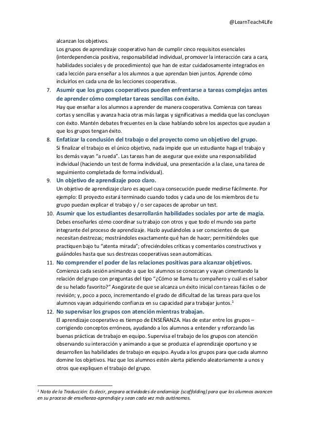 Traducción 15 errores tipicos del aprendizaje cooperativo y qué hacer para solucionarlo Slide 2