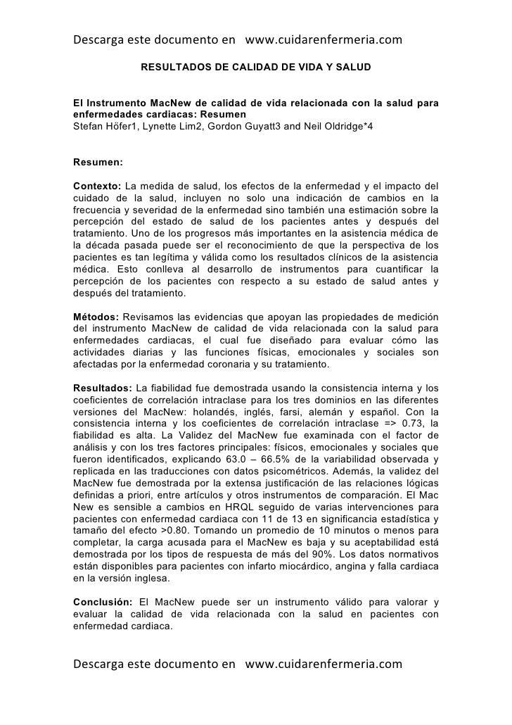 Descarga este documento en www.cuidarenfermeria.com               RESULTADOS DE CALIDAD DE VIDA Y SALUD   El Instrumento M...