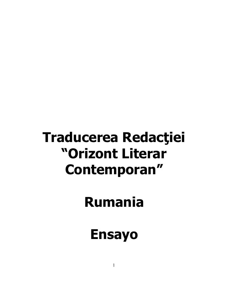 "Traducerea Redacţiei   ""Orizont Literar    Contemporan""     Rumania      Ensayo         1"