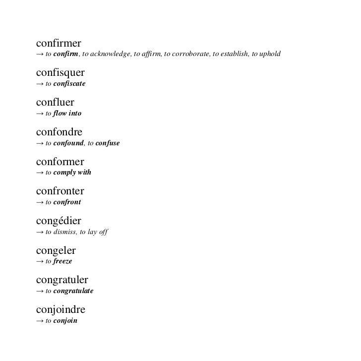 Verbes Francais Traduits En Anglais