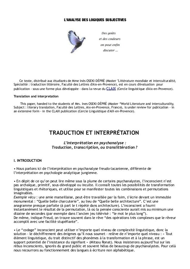 """L'ANALYSE DES LOGIQUES SUBJECTIVES   Ce texte, distribué aux étudiants de Mme Inès OSEKI-DÉPRÉ (Master """"Littérature mondia..."""