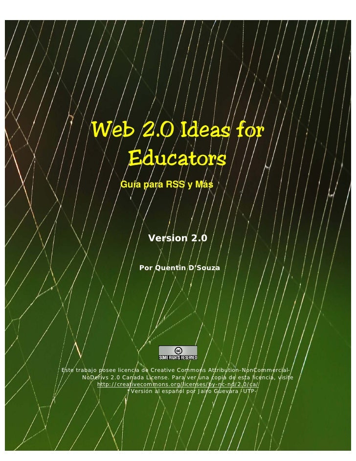 Web 2.0 Ideas for               Educators                       Guía para RSS y Más                                  Versi...