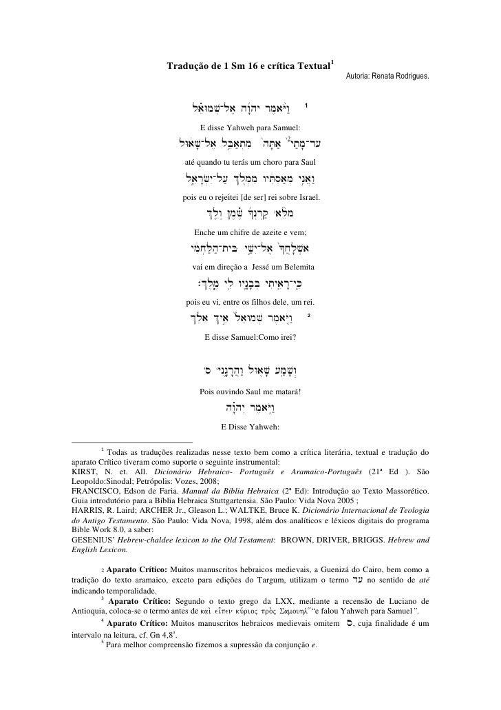 Tradução de 1 Sm 16 e crítica Textual1                                                                                  Au...