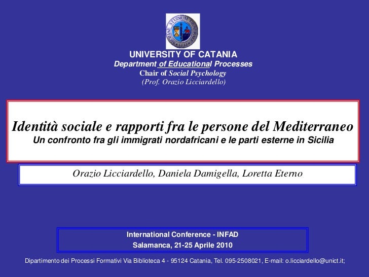 UNIVERSITY OF CATANIA                                   Department of Educational Processes                               ...