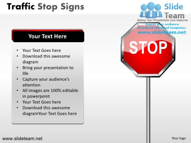 traffic highway roadway stop signs detour powerpoint presentation tem