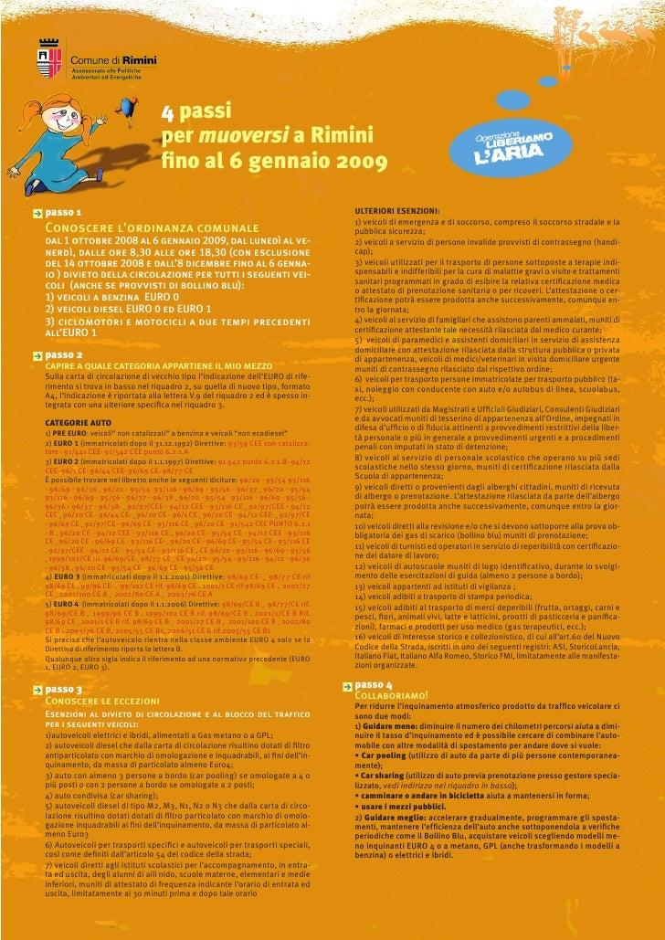 4 passi                                    per muoversi a Rimini                                    fino al 6 gennaio 2009...