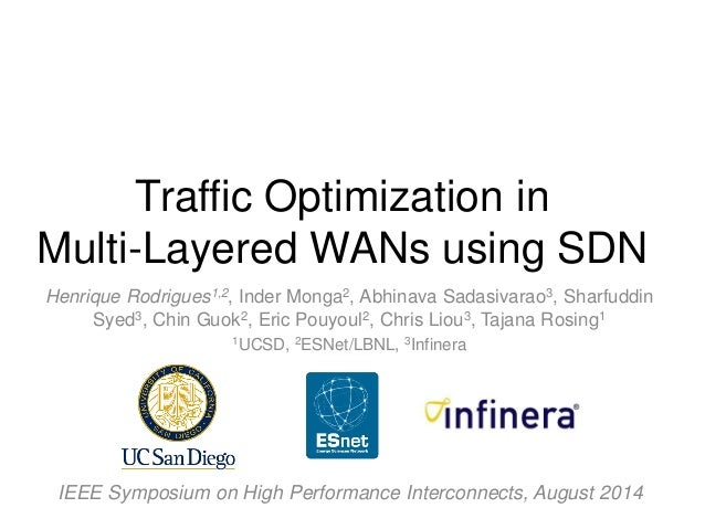 Traffic Optimization in Multi-Layered WANs using SDN  Henrique Rodrigues1,2, Inder Monga2, Abhinava Sadasivarao3, Sharfudd...